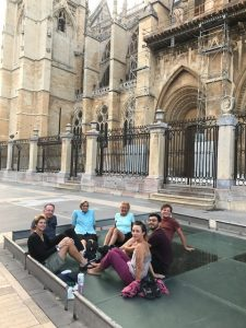A Circle of reflection and gratitude with fellow pilgrims under the gaze of Leon cathedral, northern Spain